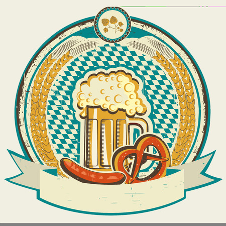 oktoberfest food: vintage oktoberfest label with beer and food on old paper background Illustration