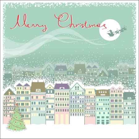 christmas snow: Christmas card background with cityscape and Santa in sky moon.Vector illustration