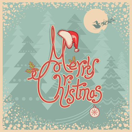 greeting card backgrounds: Retro Merry Christmas card with text.Vintage greeting illustration on old paper Illustration