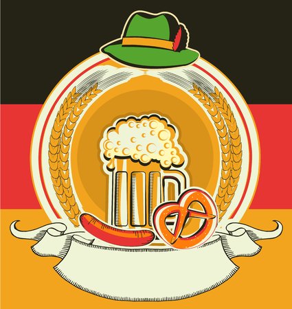 Beer label with German flag.Vector oktoberfest festival symbo for text l isolated on white photo