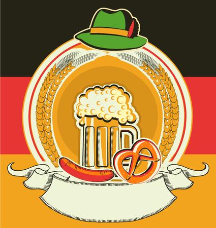 comida alemana: Etiqueta de la cerveza con el alemán flag.Vector oktoberfest fiesta sim para el texto l aislado en blanco
