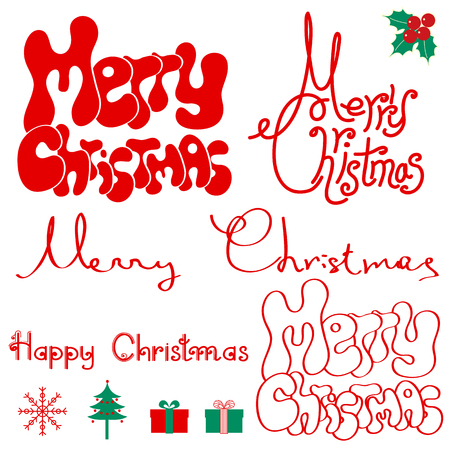 Merry Christmas text isolated on white for design Vector