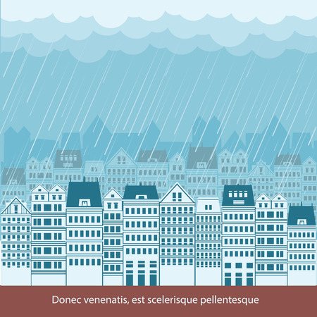 raining: Raining in Cityscape background illustration for text  with big houses and sky