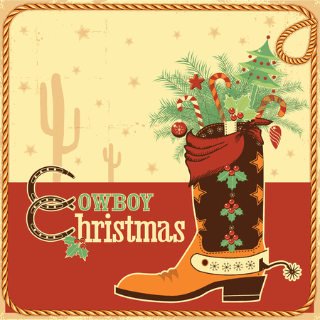 Cowboy christmas card with text and cowboy western boot.Vector illustration Vector