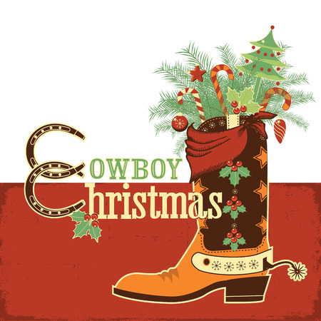 Christmas cowboy boot.Vector western illustration with text Vector
