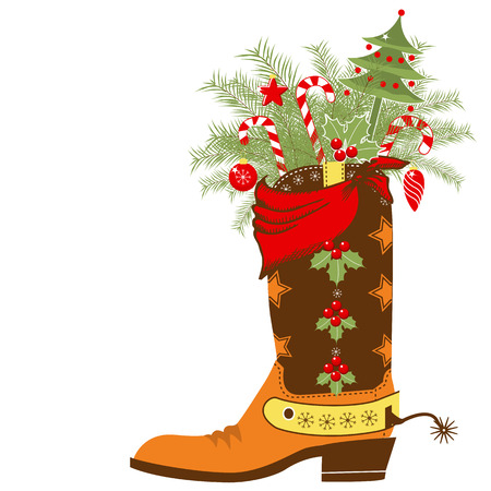 botas de navidad: Tarjeta de Navidad del vaquero con botas y wnter vacaciones elements.Vector zapatos aislados en el fondo blanco