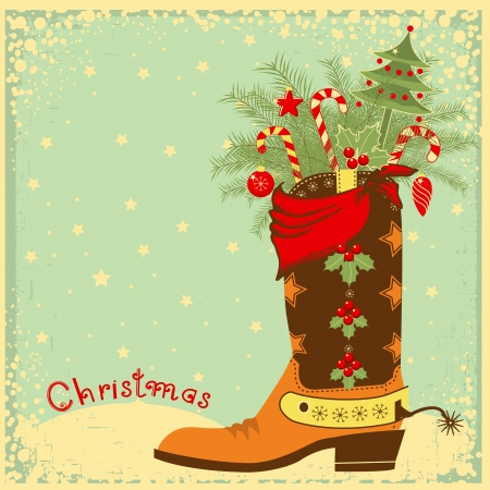 Cowboy Christmas card with boot and wnter holiday elements  Vector