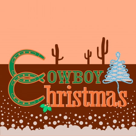 Cowboy Christmas card background with text.Vector illustration