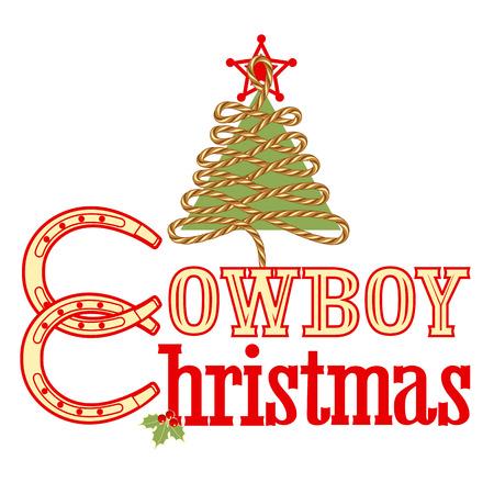 horseshoe vintage: Cowboy Christmas text isolated on white.Vector illustration for design Illustration