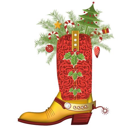 rancho: Navidad bota de vaquero con la decoraci�n de Navidad aislado en el zapato white.Luxury con diamantes y decoraci�n