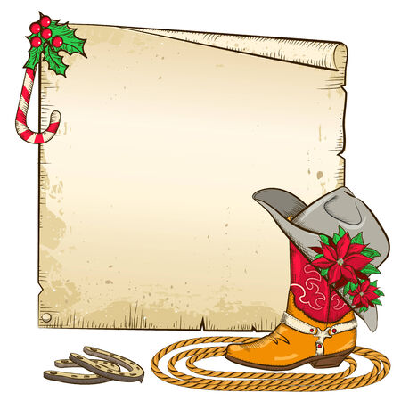 Christmas  background with horseshoes and red poinsettia on cowboy hat.Vector paper illustration for text Vector