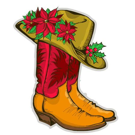 botas de navidad: Navidad del vaquero botas y sombrero occidental con Holiday decoration.Vector ilustración