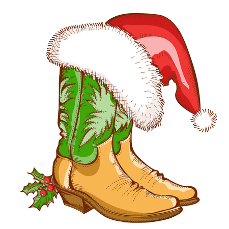 Christmas Cowboy boots and Santa hat.Vector western illustration isolated on white Vector