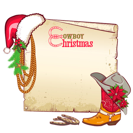 Christmas cowboy paper for text.Vector card background with cowboy boot and Santa red hat. Illustration