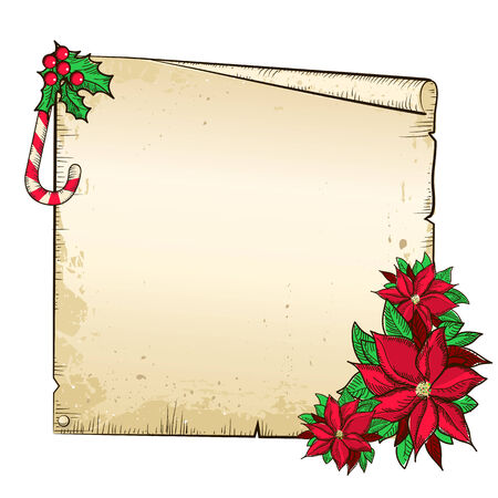 Christmas  paper with poinsettia.Vector isolated background for text