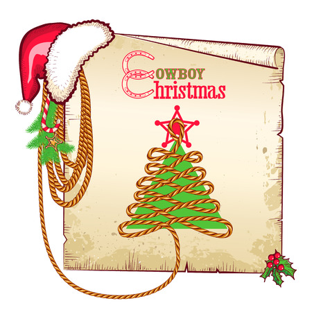 Christmas western background with red Santa hat and old paper card for text  Vector