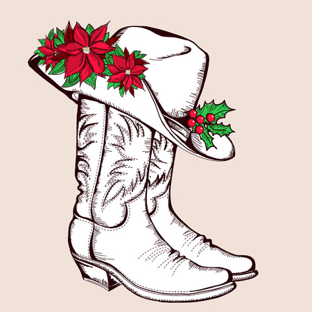 Cowboy Christmas boots and hat.Vector graphic illustration with poinsettia isolated for design Vector