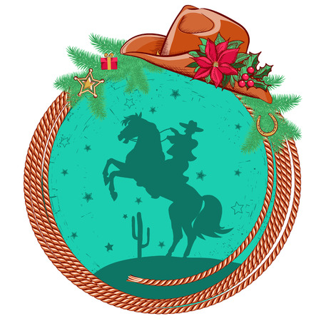American cowboy Christmas background with western hat and decorations  Vector