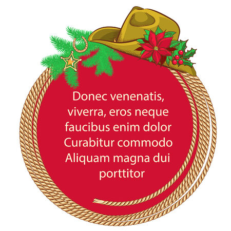 American Christmas background with cowboy lasso and western hat.Vector for text. Vector