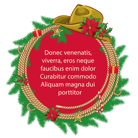 American Christmas background with cowboy hat and christmas wreath .Vector for text. Vector