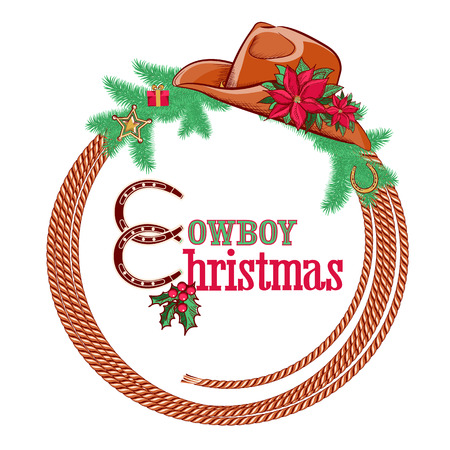 American cowboy Christmas background with western hat and decorations isolated on white  Vector