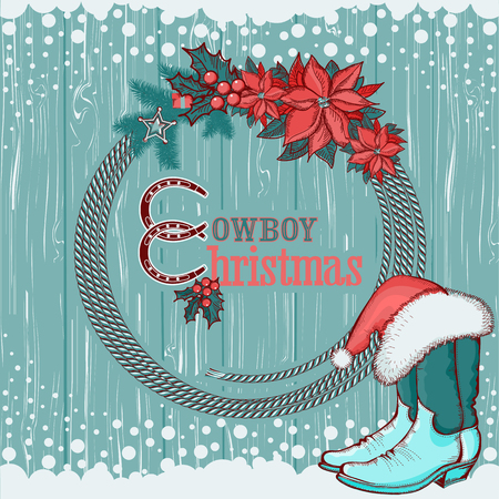 American cowboy Christmas background with western hat and boots decorations.Vector illustration Vector