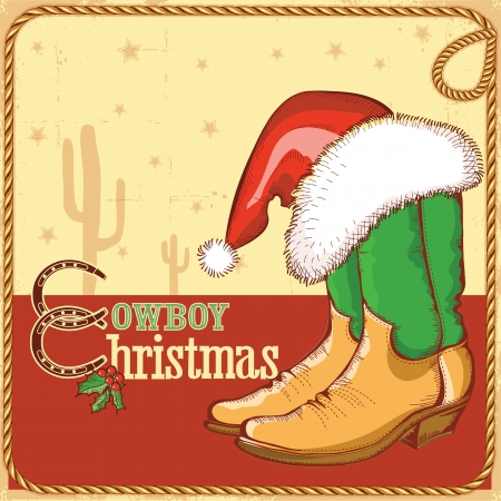 Cowboy christmas card with american boots and Santa hat.Vector illustration for design Vector