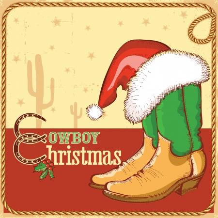 botas de navidad: Cowboy tarjeta de Navidad con las botas americanas y de Santa hat.Vector ilustración para el diseño
