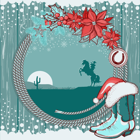 cowboy background: American cowboy Christmas background with boots and cowboy on horse silhouette.Vector card Illustration