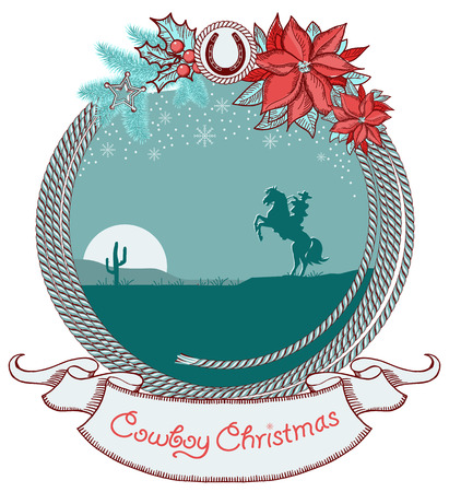 American cowboy Christmas background with cowboy on horse silhouette and lasso.Vector card illustration Vector