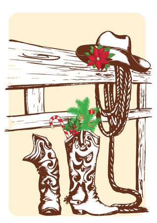 Christmas cowboy elements for holiday.Vector western boots and hat