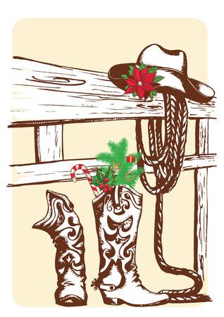 botas de navidad: Navidad elementos de vaquero de las botas del oeste holiday.Vector y sombrero Vectores