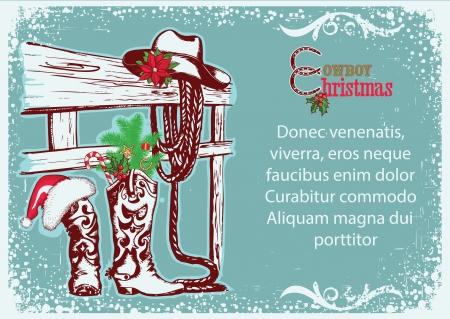 botas de navidad: Cowboy Cartel de la Navidad para texto.Fondo ilustración invierno con botas de vaquero y sombrero