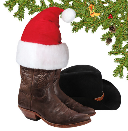 Christmas American cowboy clothes isolated on white for design