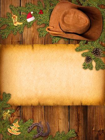 rodeo americano: Fondo de Navidad con sombrero de vaquero y papel viejo para el texto