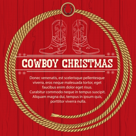 American Red Christmas background with cowboy boots and rope frame.Vector illustration for text Vector