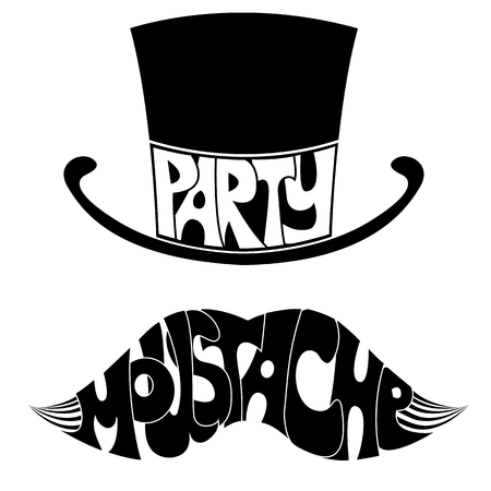 hair mask: party Mustache and hat with text illustration isolated on white