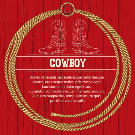 cowboy boots: American background with cowboy boots and rope frame.Vector illustration for text