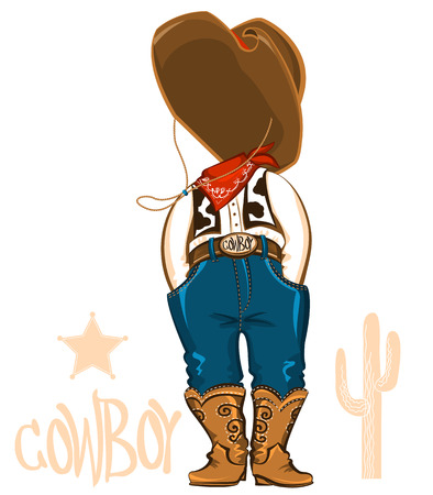 Cowboy clothes for design.Vector western wear illustration for party Vector