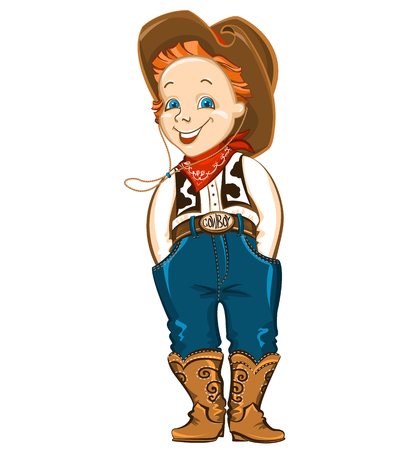 western attire: Young cowboy with western hat and boots.Vector happy kid illustration for party birthday