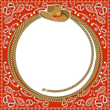 ロープのフレームと西洋帽子カウボーイ カード背景。設計のためのベクトル図 写真素材 - 25281491