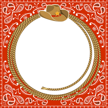 bandana western: cowboy card background with rope frame and western hat.Vector illustration for design