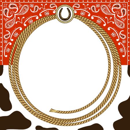 カウボーイ ロープ フレームと西洋装飾背景カード。設計のためのベクトル図