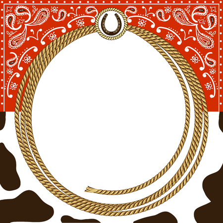 cowboy card background with rope frame and western decoration.Vector illustration for design Illustration