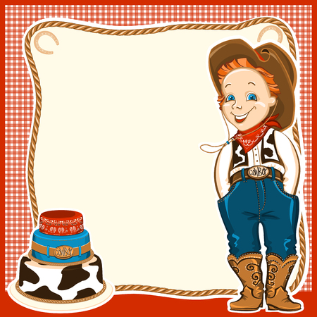 Cowboy happy child in western traditional clothes and holiday cake.Vector background for text