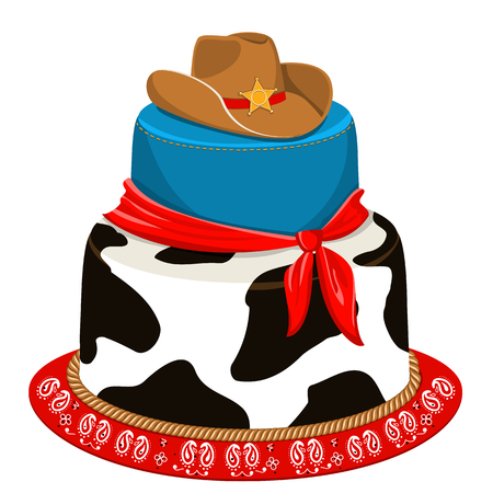 sherif: Cowboy cake for child birthday party with traditional decoration.Vector isolated on white for design