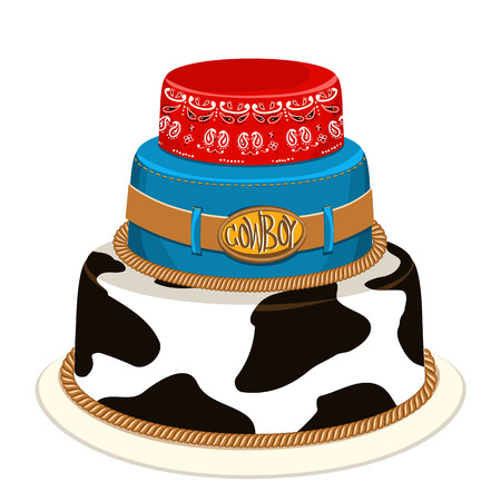 sherif: Cowboy cake for child birthday party with decoration.Vector illustration isolated on white for design Illustration