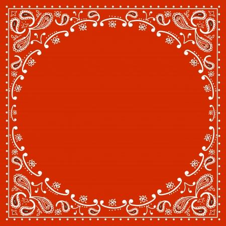 disegni cachemire: cowboy rosso bandanna.Vector illustrazione Vettoriali