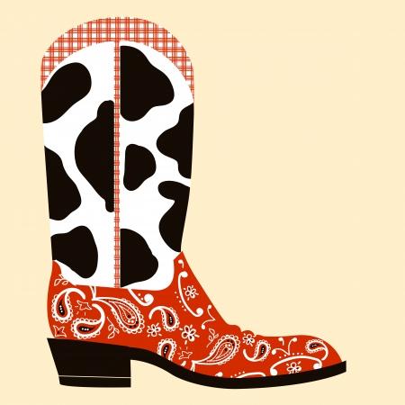 カウボーイ ブーツ装飾。分離された靴の西洋的なシンボル