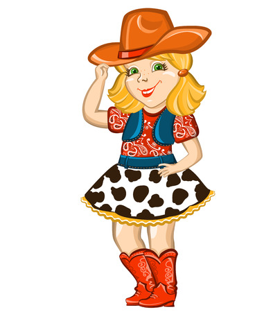 Cowgirl child with western hat and boots. Illustration